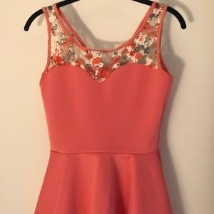 Pink and Floral Lace Peplum Tank Top